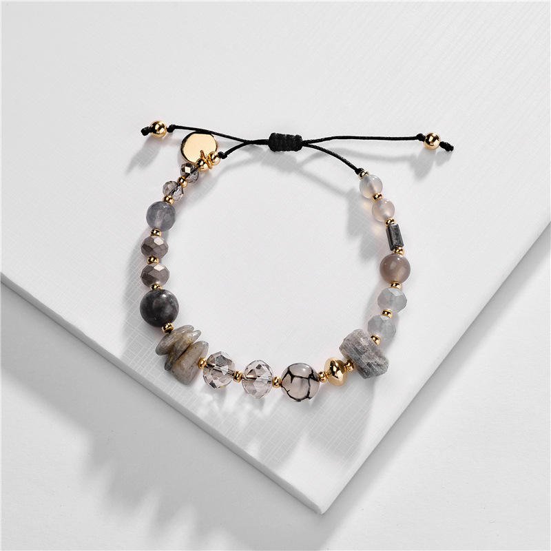 European Aspect Crystal Natural Stone Adjustable Rope Bead Bracelet