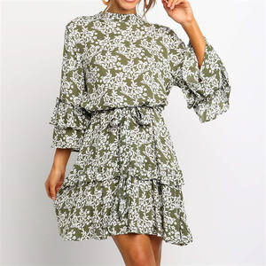 Clothes manufacturer small orders ladies 3/4 sleeve floral print chiffon dresses