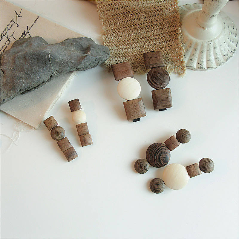 New Arrivals Women Wood Rounds Square Barrettes Elegant Hair Clips Hairpins Hair Ornament Fashion Hair Accessories
