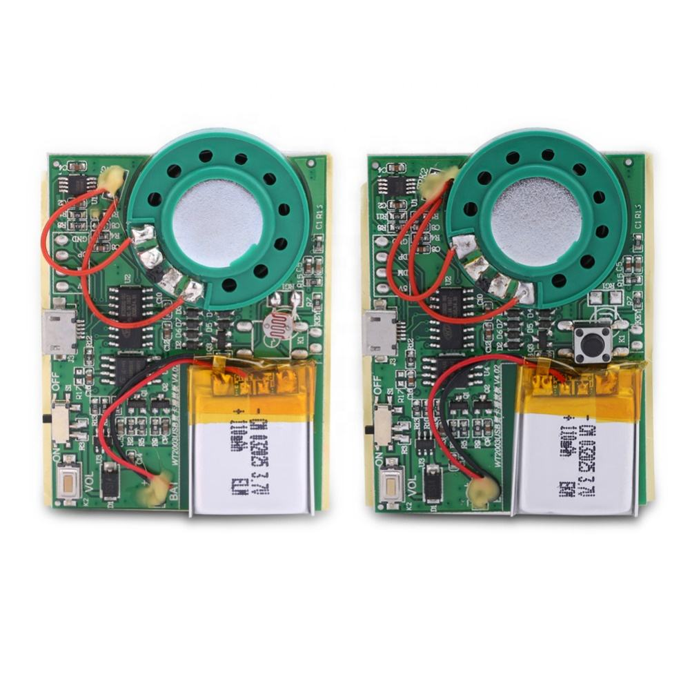 USB Music Sound Voice Recording Module Chip 1W with Rechargeable Lithium Battery for greeting card children