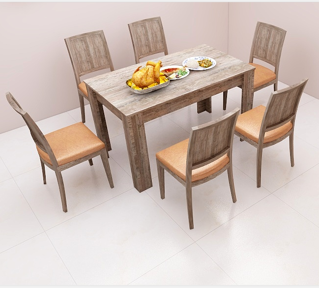 High quality no lacquered panel furnitures wooden dining table and chairs
