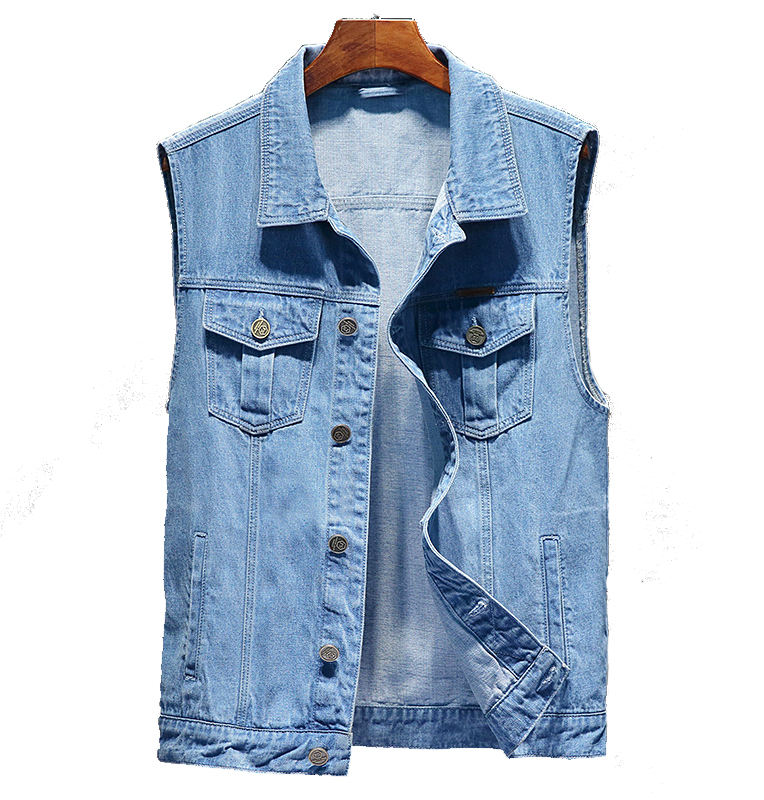 Fashion casual sleeveless denim jean waistcoat vest for mens
