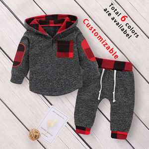 Kids Infant Toddler Baby Boys Girls Hoodie Outfit Plaid Pocket Sweatshirt Jackets Shirt+Pants Fall and Winter Clothes Set