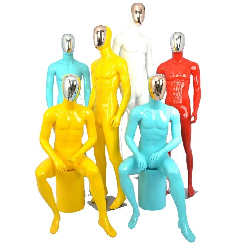 Mannequin props men's full body clothing store gold and silver electroplated face dummy window color men's mannequins stand