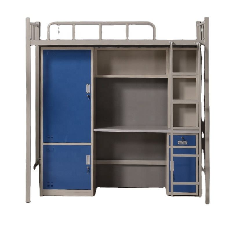 Dorm bed with locker Student bunk bed with study table metal bunk bed with desk
