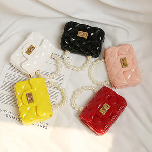 2020 PVC Jelly Quilted Pearl Handle Tote Kids Purse Mini Handbags