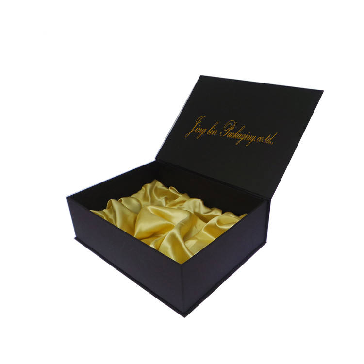 Luxury Custom Garment Clothing Packaging Black Matte Rigid Magnetic Lid Closure For Shoes Gift Box Folding Box With Satin Insert