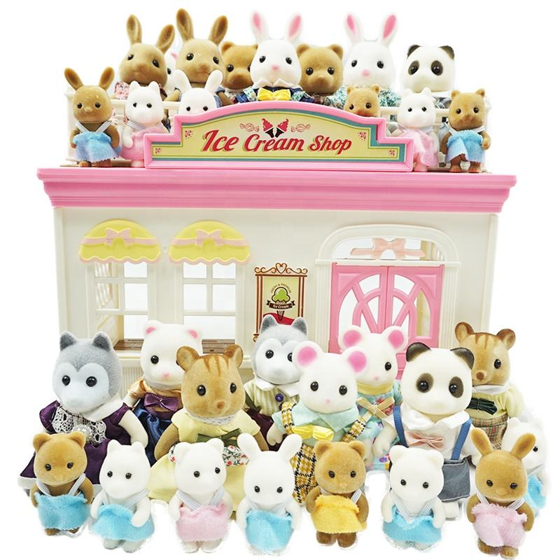 Forest Animal Family Play House Doll Set Rabbit Mouse Panda Bear Squirrel Dog Play Role Toy for Kids Pretend Toys