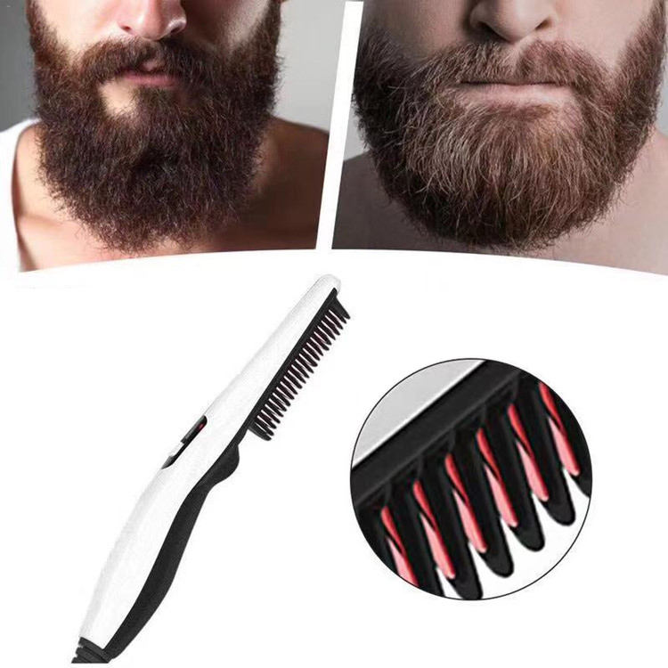 T14 Beard Straightener Comb Quick Electric Heated Beard Brush Men Beard Styler Multifunctional Hair Straightening Brush