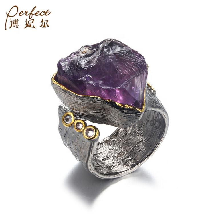Classic [ 925 Silver Ring ] Silver Impressive Look Big Amethyst Stone 925 Sterling Silver Handmade Ring With White Zircon Wholesaler