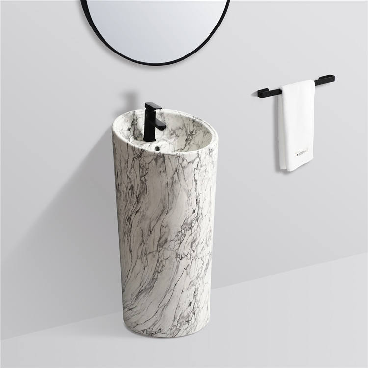 High quality wholesale price bathroom pedestal sink standing ceramic indoor marble pedestal wash basin