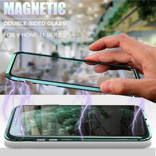 Newest Metal 360 Magnetic Adsorption Phone Case For iPhone 12 Pro Max Double Sided Glass Magnet Case Cover For iPhone 12 Mini XS
