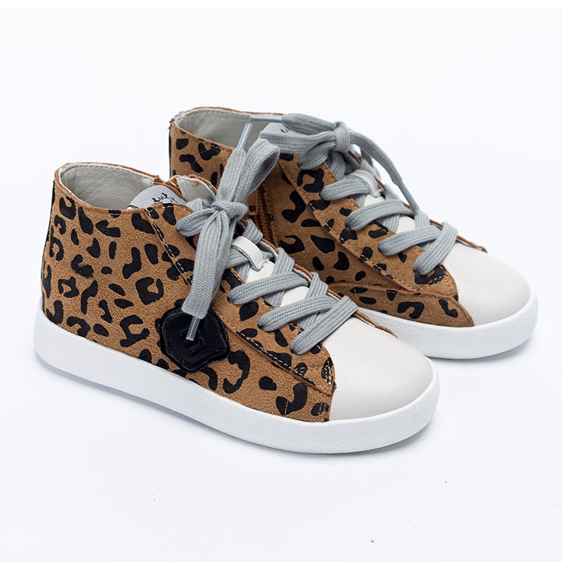XinYiQu Kids High Top Sneakers Casual Leopard Canvas Shoes for Girls Boys