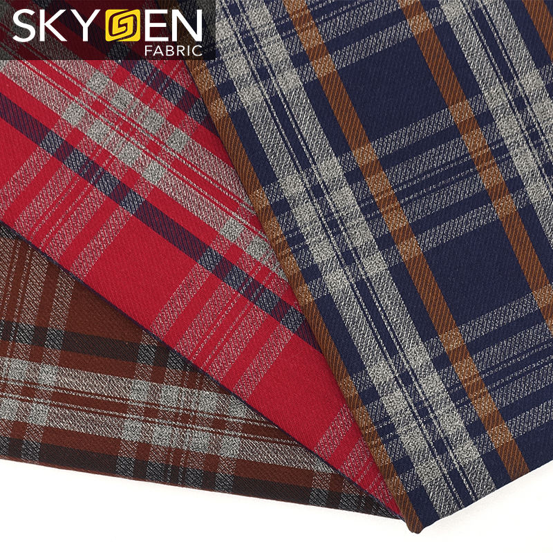 Skygen China textile 100% cotton 120gsm check fabric yarn dyed checkers wholesale fabric cotton roll fabric