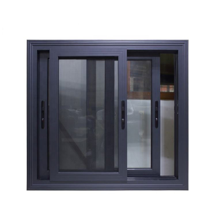 Exterior sliding window with grill glass,thermal break black matt aluminum window mosquito net for building