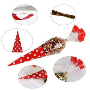 Red Candy Bags 100 Pcs Cellophane Cone Treat Party Bags with Gold Twist Ties Storage OPP Plastic Bags for Christmas Cookie Candy