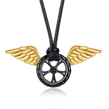 Unique Designs Stainless Steel Angel Wings Car Tire Pendant Necklace Heroes Never Die Flying Tire Wheel Rim Wing Men Jewelry