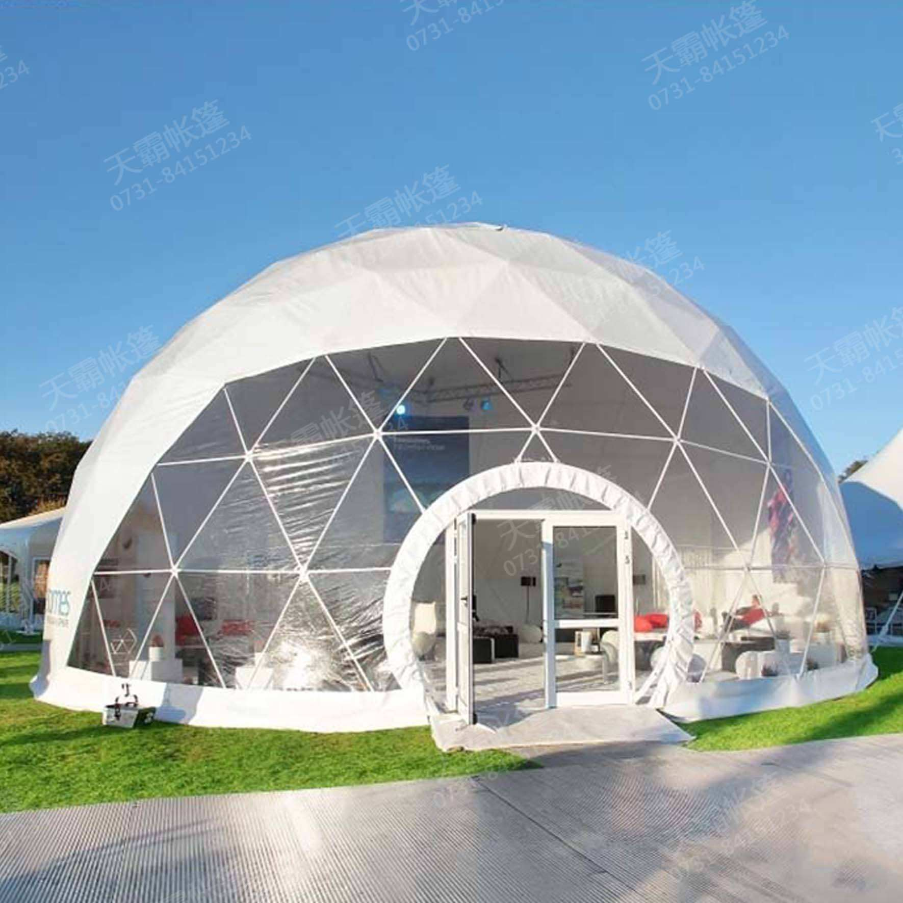 white marquee wind resistance waterproof soccer spherical dome tent for sale