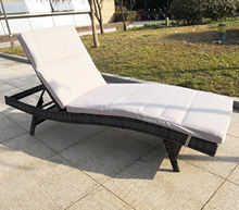 Popular pool furniture patio garden furniture plastic rattan sun lounger with waterproof cushion