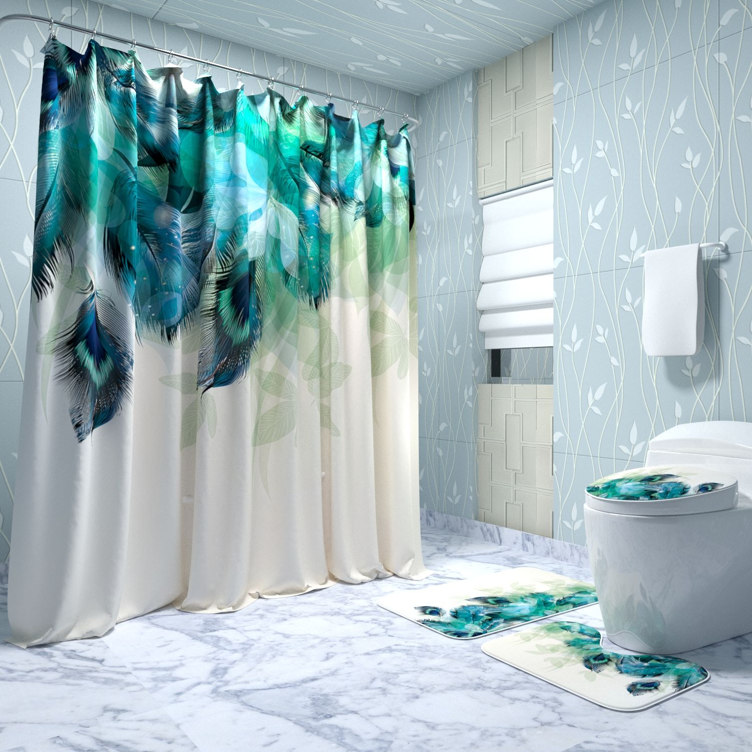 3d printed custom shower curtain with matching rug set