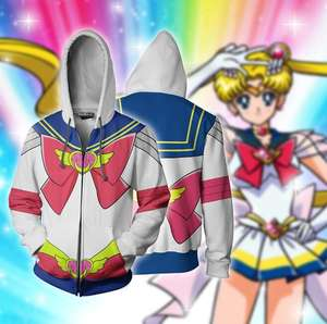 Ecowalson custom made Unisex Sailor Moon Cosplay Capuchon Sweatshirt Uitloper