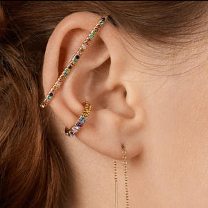 2020 Multi Color Diamond Fashion Stud Earrings For Women ear clip Wedding Gift Minimalist Ear Cuff