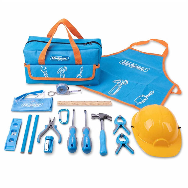 Hispec 18 pc children kids real metal hand tools set kit for kids DIY in Blue Tool Bag