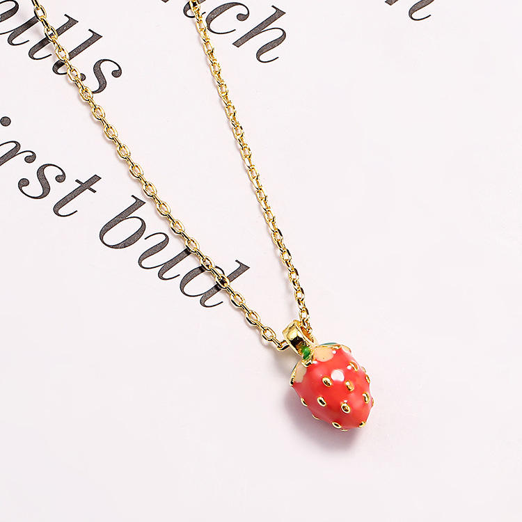 Hot Selling High Quality Delicate Design 925 Steel silver Fruit Pendant Red Small Strawberry Necklace For Girls