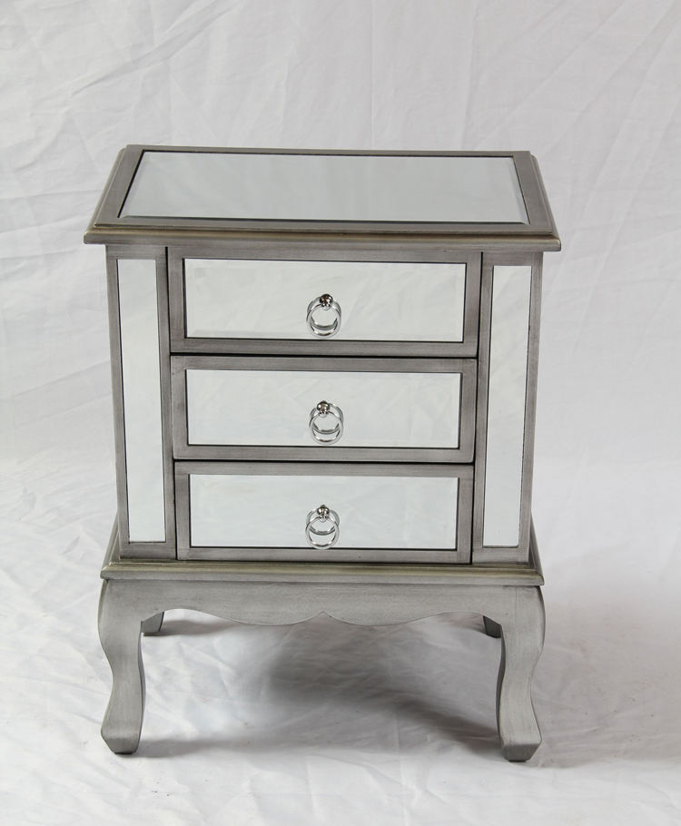 Popular Mirror 3 Drawers Night Stand Mirror Side Table Furniture Bed Room