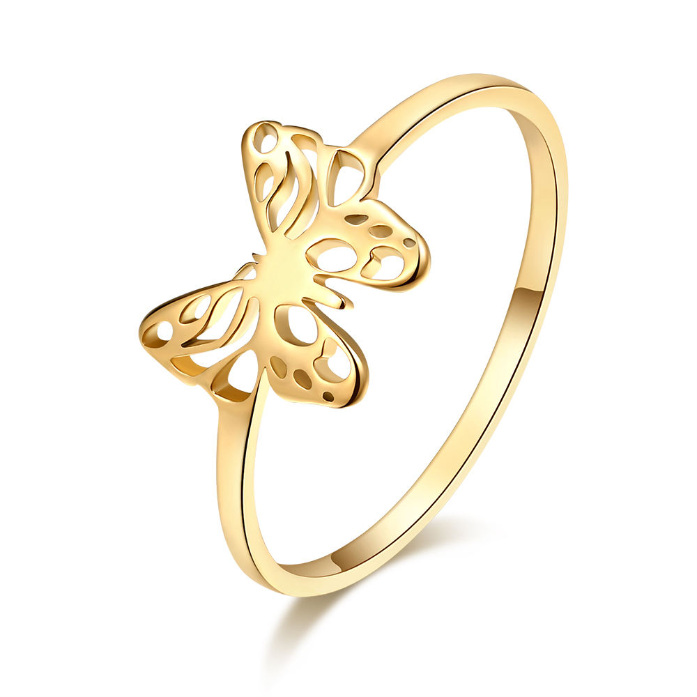 Exquisite Butterfly Ring Gold and Silver Color Stainless Steel Fashion Jewelry