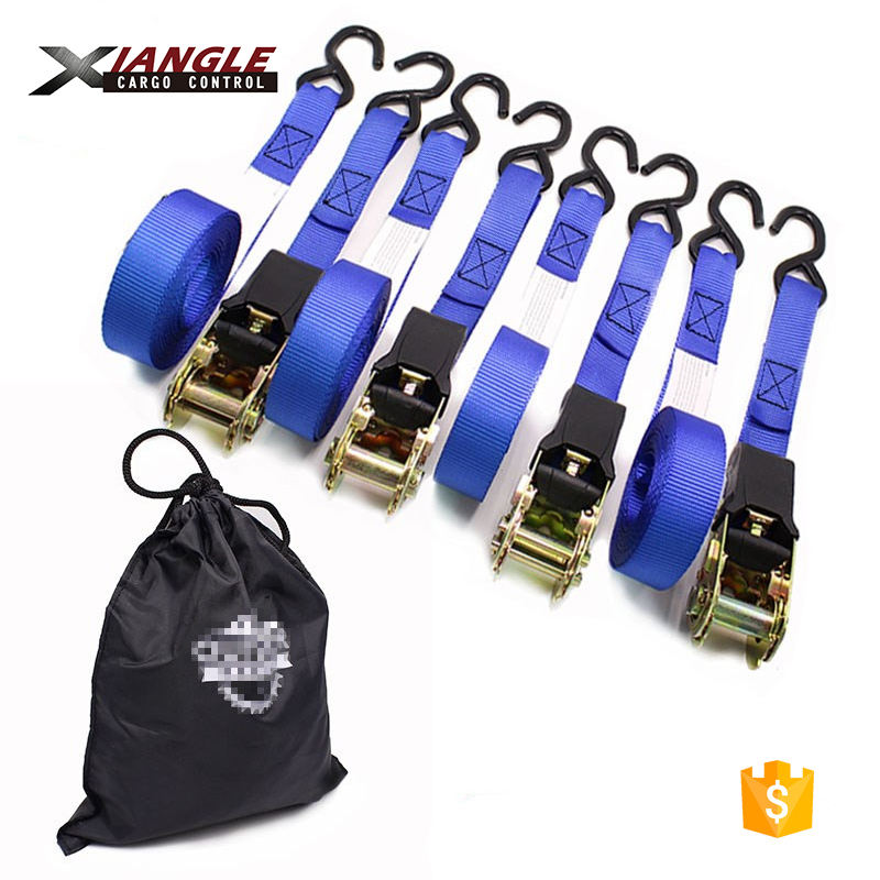 4pc set 25mm cam buckle lashing belt easy to use ratchet tie down straps belt with rubber handle and double s hooks
