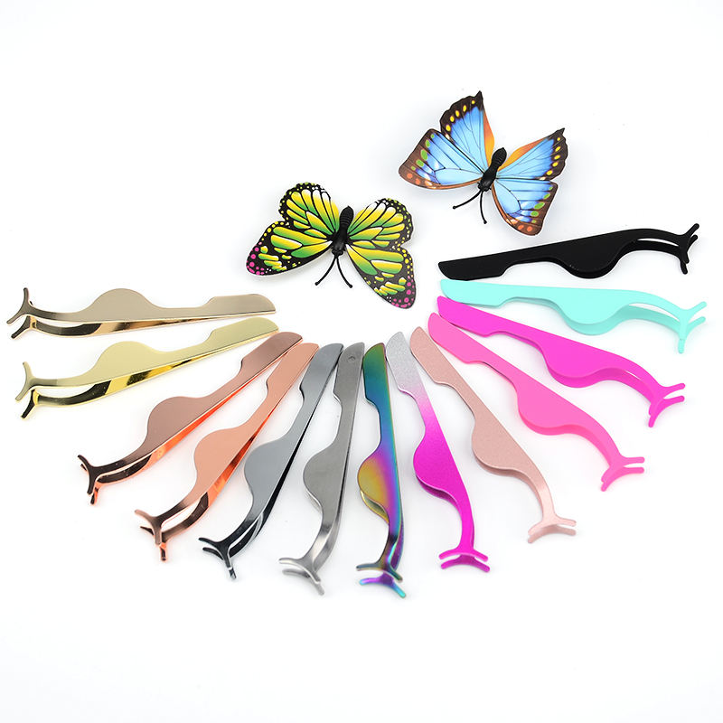 Eyelash Tweezer Private Label Top quality Custom Stainless steel colorful eyelash applicator tweezers