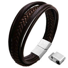 Mens Genuine Leather Bracelet With Stainless steel Magnetic Clasp Braided Rope Wrap Men's MultiLayer Leather Bracelet 2020