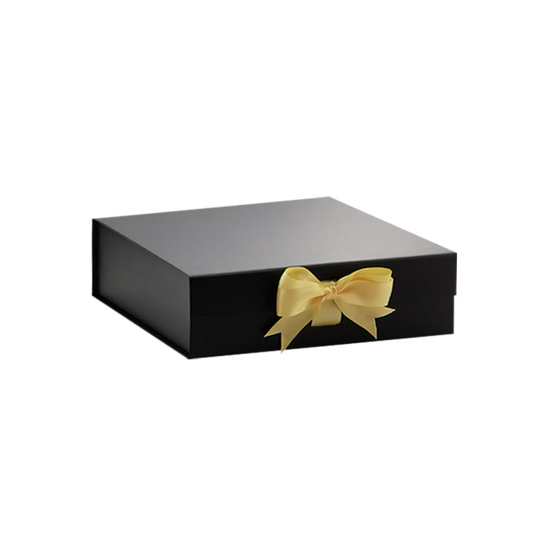 Custom design luxury medium black retail gift box packaging with ribbon