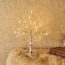 LED Artifical Lighted White Birch Twig Tabletop 18IN 24 LED Small Tree Lights Battery Operated Decoration