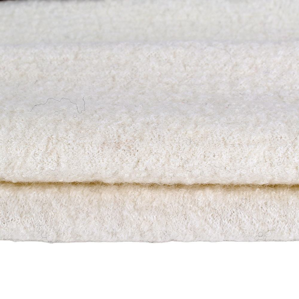 Customzide white knitted wool boiled woolen fabric