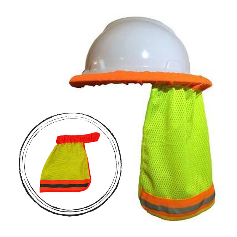 Hi-vis reflective elastic safety helmet sun shade visor for the climbing or construction hard hat neck shield protection