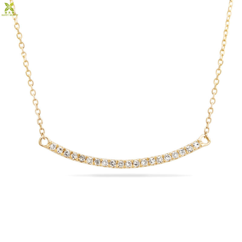Women accessories jewelry tiny pave diamond curve bar necklace