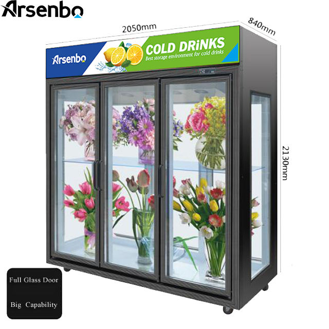 new style flower display fridge transparent glass door commercial display refrigerator