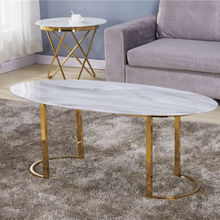 High quality smooth white marble table top beautiful golden stainless steel table leg coffee table