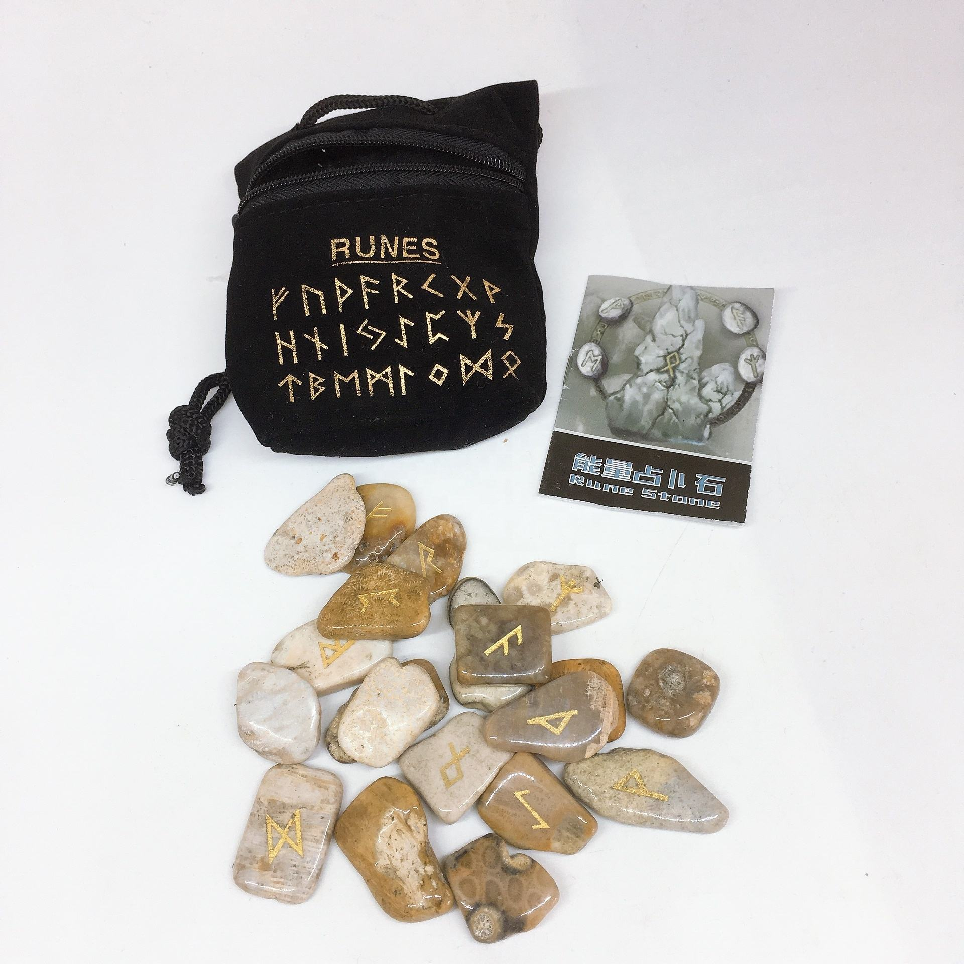 Wholesale natural coral fossil carved runes stone healing quartz Crystal Rune Stones