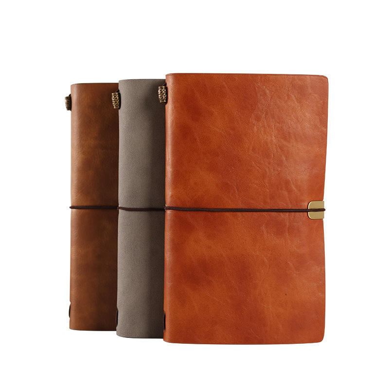 Business Gift A6 PU Leather Cover Pocket Binder Notebook with Elastic Strap