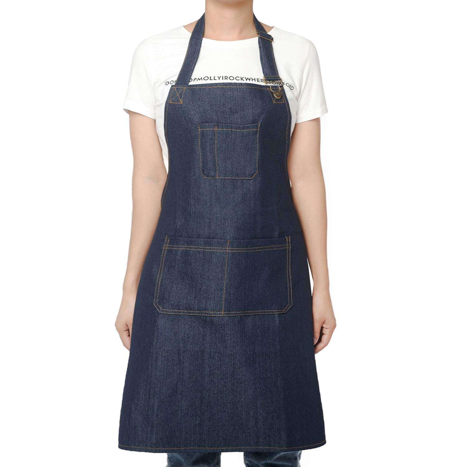 Bib [ Apron Denim Aprons ] Apron Manufacturer Customized Denim Apron BBQ Waist Aprons For Kitchen Apron Adjustable Bib