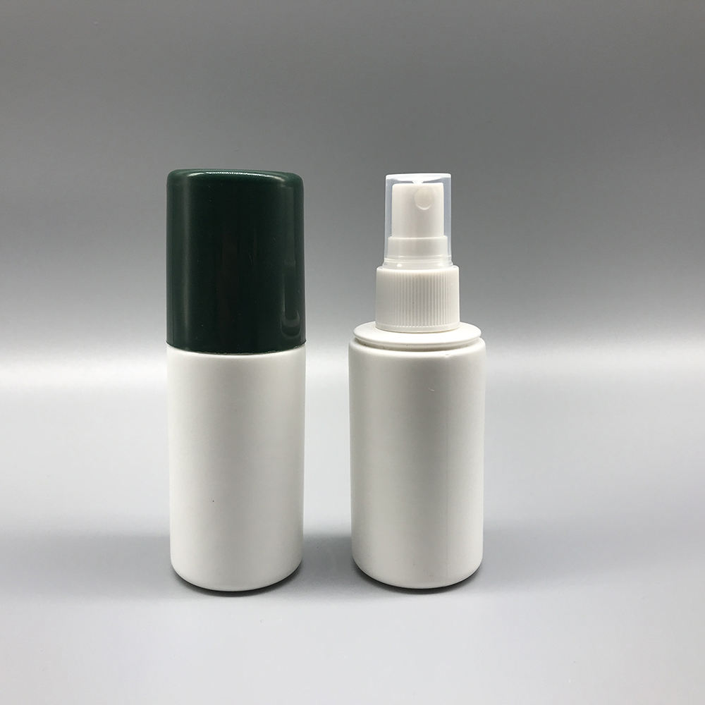 Pharmaceutical 2oz 60ml capacity white HDPE empty plastic spray bottle with big cap