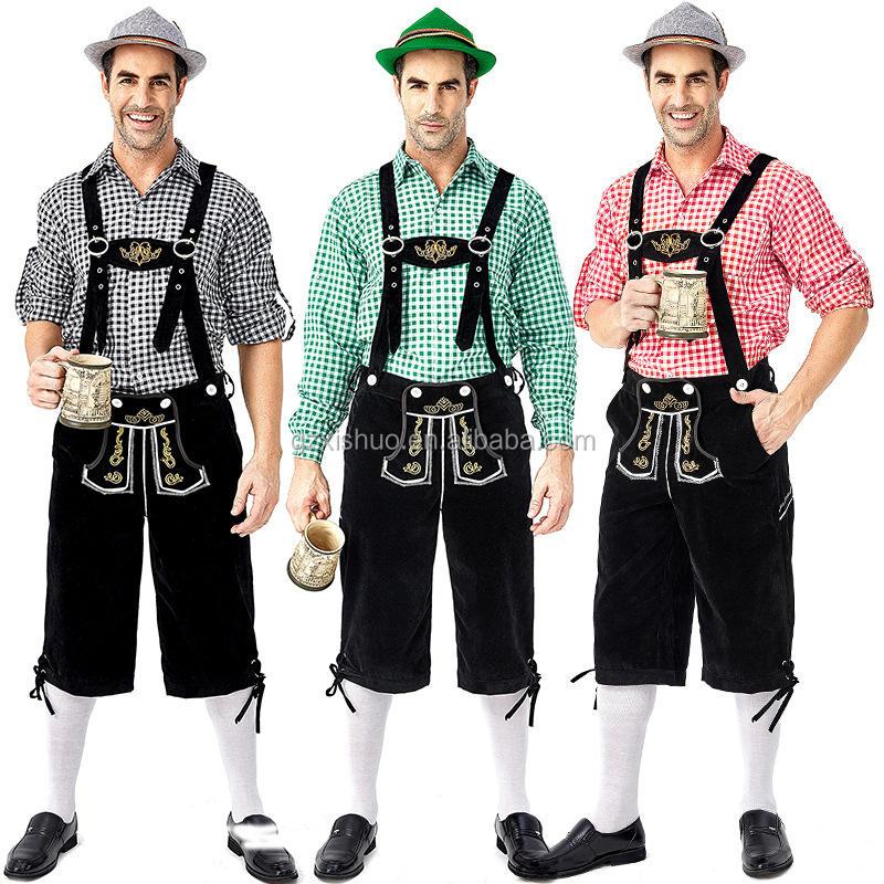 Men Short Bavarian Lederhosen with Shirt Oktoberfest Costumes wear lederhosen Herren kurze Lederhose wholesale