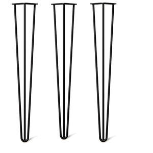 Cheap Price Wholesale Metal TV Cabinet End Table Furniture Leg Satin Black 3 Rod 30 Inch Steel 4 Pcs Hairpin metal Table Legs