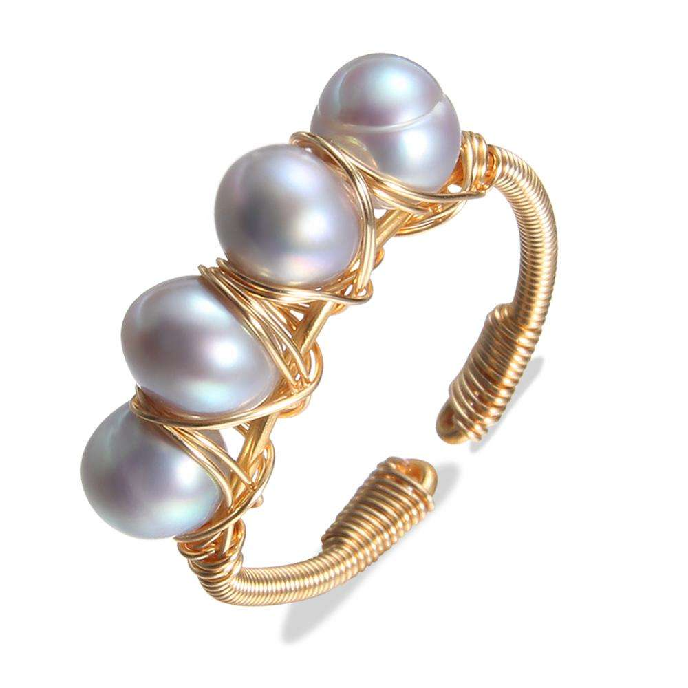 fashion handmade pearl ring designs for women natural baroque pearl ring