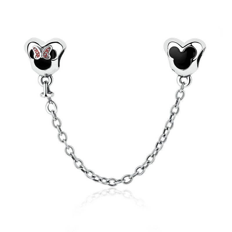 Classic Real 925 Sterling Silver Safety Chain Fit pandora Bangle Bangle Mickey Minnie Safety Chain Charm DIY Jewelry