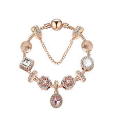 Charms Bracelet Bangle For Women Crystal Flower Beads Fit Brand Bracelets Jewelry
