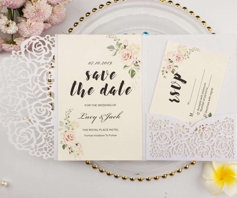 Elegant pearl white pocket wedding invitation card Laser Cut rose tri-fold invitations greeting gift Cards For party Decoration